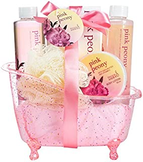 Pleasantly Fragrant Peony Spa Gift Set For Women Displayed In Pink Feminine Tub Includes Shower Gel, Bubble Bath, Body Lotion, Poeny Bath Salt and Pouf, Perfect Spa Relaxation Gift