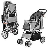 Carro de transporte para mascotas con carrito de transporte y bolsa de transporte para cochecito de bebé, color gris