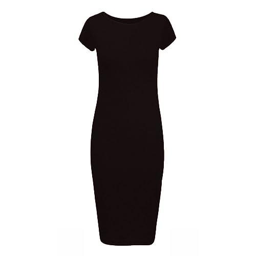da549f53f1 Forever Womens Plain Cap Sleeves Bodycon Midi Dress