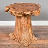 LEBENSwohnART Teak Beistelltisch MELAYA Natural Ø ca. 45cm massiv Couchtisch Nachttisch