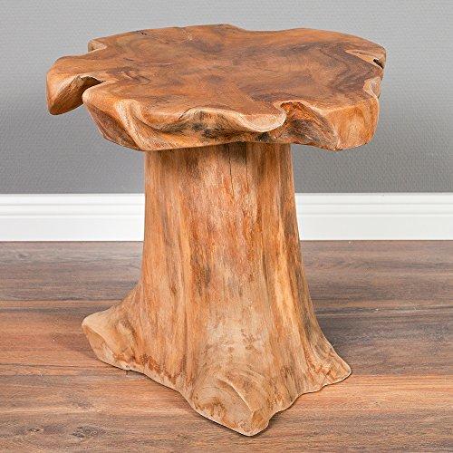 LEBENSwohnART Teak Beistelltisch MELAYA Natural Ø ca. 45cm massiv Couchtisch Nachttisch Tisch