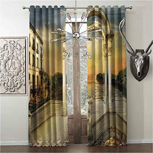 Pattern Blackout Curtains, Fantasy, W120 x L96 Inch, Surreal Bridge Gateway with Ornaments Enchanted Woods Fairytale Land, for Living Room or Bedroom, White Pale Yellow Green