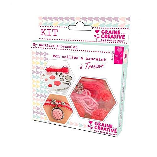 Graine Créative Kit Bijoux Collier et Bracelet à tresser, Couleur Rose et Rouge, DIY