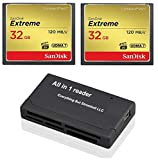 SanDisk Extreme 32GB CompactFlash CF Memory Card (2 Pack) Works with Canon EOS 7D Mark II Digital DSLR Cameras HD UDMA 7 (SDCFXSB-032G-G46) Bundle with Everything But Stromboli Combo Reader