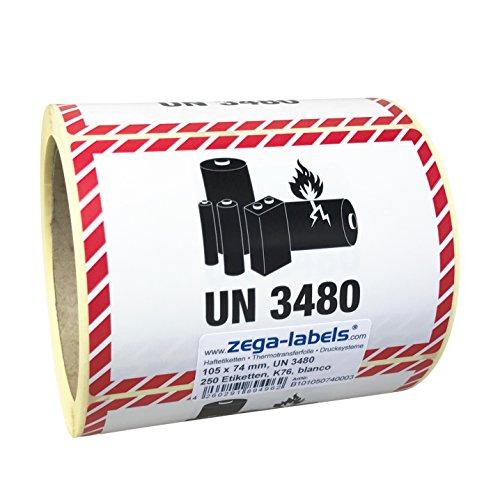Gefahrgutetiketten auf Rolle - UN 3480 - Lithium-Ionen-Batterien - ohne Telefonnummer/zum selbstbedrucken - 250 Stück je Rolle - 105 x 74 mm - Haftpapier - Kern 76 mm für Industriedrucker