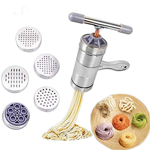 Portable Stainless Steel Manual Noodle Maker Noodle Pasta Machine Cutter Fruits Juicer with 5 Pressing Moulds Kitchen Tool