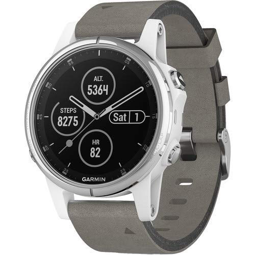 Garmin Fenix 5S Plus Training GPS (42mm) (White with Suede Band) Running Watch Bundle with Charger + Screen Protectors + More 3