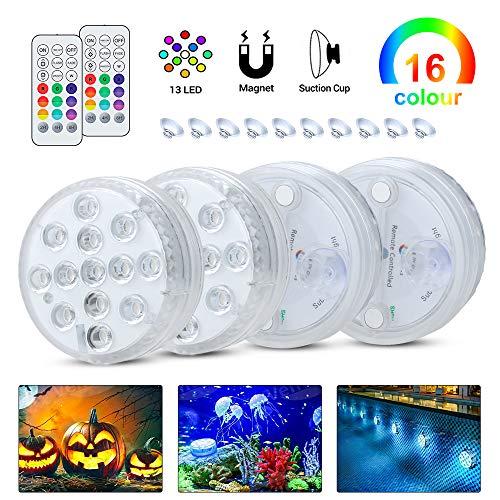 Komake Unterwasser Licht 4 Stück mit Fernbedienung, RGB Mehr Farbwechsel Wasserdichte IP68 LED-Leuchten für Blumen,Aquarium,Hochzeit,Schwimmkot,Halloween,Party,Weihnachten