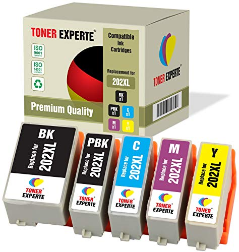 Pack de 5 XL TONER EXPERTE® Compatibles 202 202XL Cartuchos de Tinta para Epson Expression Premium XP-6000, XP-6005, XP…