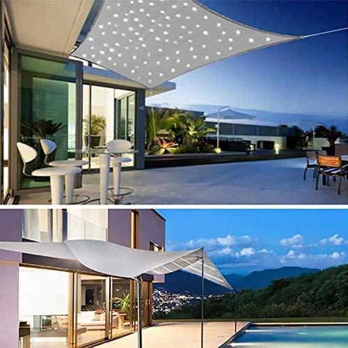 YSHUAI Sonnensegel Rechteckig Mit LED Beleuchtung Licht, Sonnenschutz Wasserdicht Polyester Oxford Stoff Mit 95{26b4b2c9a0abe507ff10749040c7f289f386cd438ad763ed9f55b0f025c7da15} UV-Block Markisen Für Draußen Terrasse Balkon Und Garten,3X5m