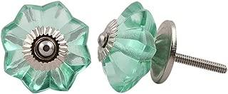 Aqua Green Set of 10 Handmade Glass Drawer Knobs Silver Vintage Designer Flower Shape Drawer Cabinet Pull Furniture Handle New Handles Nickel Hardware by JGARTS
