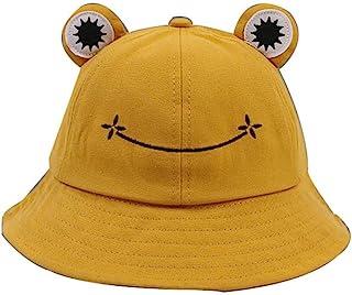 DXSC Cappello da Pescatore Carino Rana, Cappello da Sole Estivo in Cotone Secchio per Adulti Cappello da Pescatore a Tesa ...