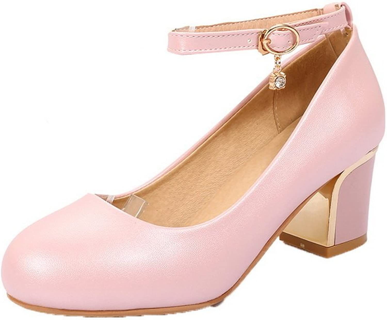 WeiPoot Women's PU Closed-Toe Kitten-Heels Buckle Solid Pumps-shoes, Pink, 39