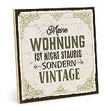 TypeStoff Holzschild mit Spruch – Nicht STAUBIG – im Vintage-Look mit Zitat als Geschenk und Dekoration zum Thema Putzen und Sauberkeit (19,5 x 19,5 cm)