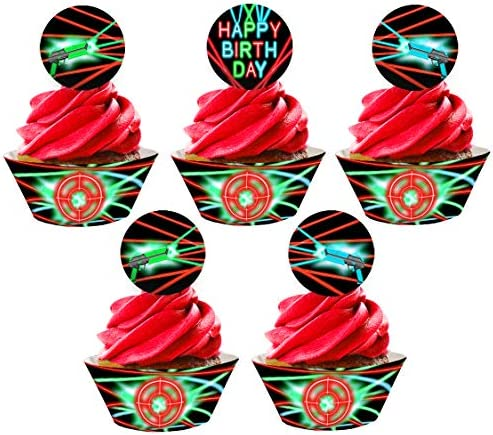 Laser Tag Cupcake Toppers and Wrappers 24 Cupcake Toppers and 24 Cupcake Wrappers Laser Tag product image