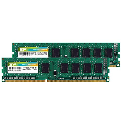 シリコンパワー デスクトップPC用 メモリ DDR3 1600 PC3-12800 8GB x 2枚 (16GB) 240Pin 1.5V CL11 Mac 対応 SP016GBLTU160N22