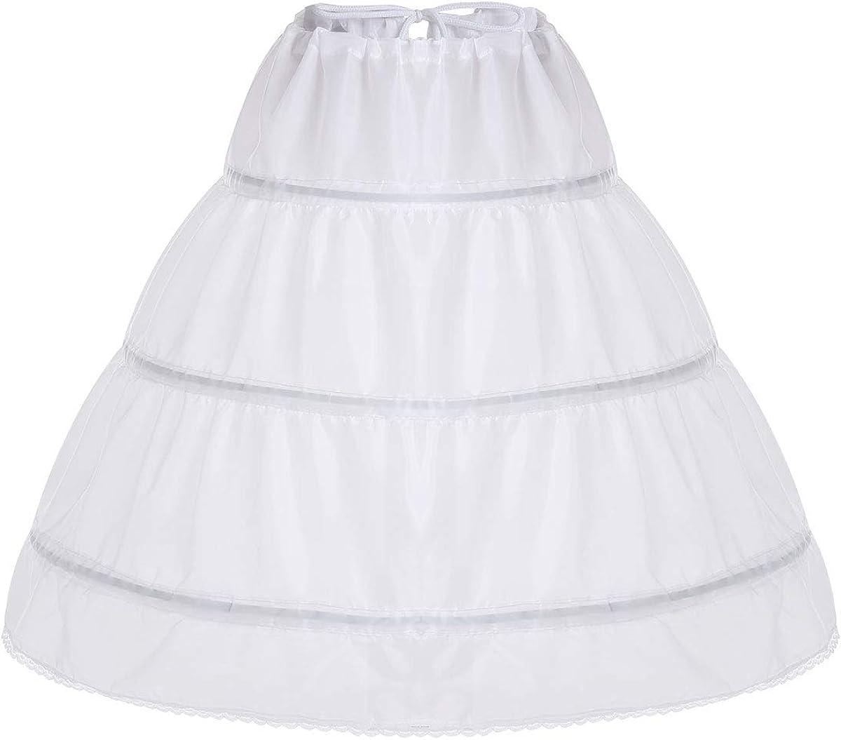 iiniim Kids Girls' 3 Layers Wedding Bridal Dress Full Slip Flower Girl Crinoline Skirt Petticoat Underskirt