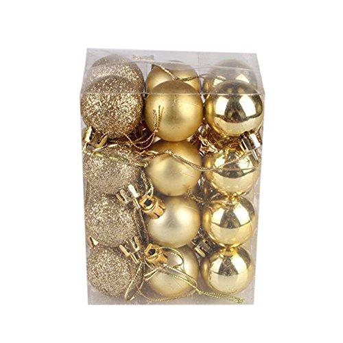 FORYULIK 24 Palline Per Albero Di Natale, Decorazioni Natalizie, Palline Natalizie Glitter Opache Lucide, 3 Cm (Oro, 24 Palline)