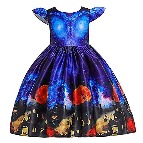 YWLINK NiñOs Vestido Ceremonial Halloween NiñA Cosplay Princesa Vestido Disfraz De Bruja para NiñOs, Disfraz De Halloween,Vestido Estampado Vestido De Encaje con Estampado De Calaveras