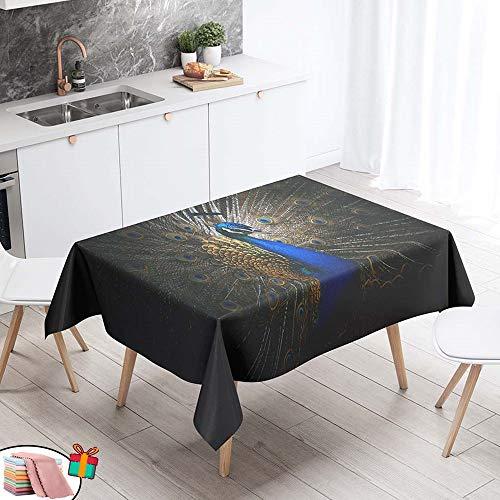 Morbuy Nappe Anti Tache Rectangulaire,Imperméable Étanche à l'huile 3D Imprimé Carrée Couverture de Table Lavable pour Ménage Cuisine Jardin Picnic Exterieur (Bleu Paon,140x260cm)