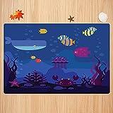 Alfombra de baño Antideslizante,Dibujos Animados, Peces del Mundo Submarino en Acuario y cangrejos Ballena Medusas Burbujas Coral Apto para Cocina, salón, Ducha (50x80 cm)