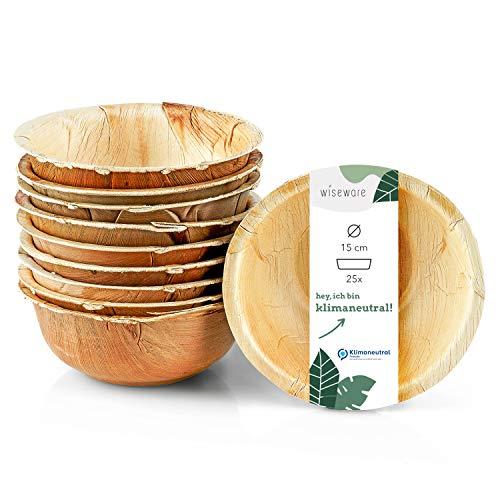 Wiseware Palmblatt Schale - 25 Stück Einweg-Schüssel rund Ø 15 cm - biologisch abbaubares Palmblattgeschirr - kompostierbares Partygeschirr - Bio Einweggeschirr