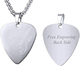 Men Women Guitar Pick Necklace with Adjustable Chain Stainless Steel Music Note/Guitar/Bass Jewelry Personalized Pendant Gift, Free Custom Text Engrave