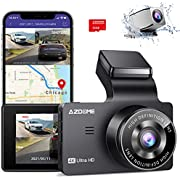 "AZDOME 4K Dual Dash Cam, Built-in GPS/WiFi(Memory Card Included), Dashboard Camera with UHD 3840x2160P, 3"" Display, Sony Sensor, 170° FOV, WDR, Night Vision, Parking Monitor, Loop Recording, G-Sensor"