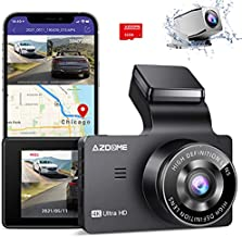 AZDOME 4K Dual Dash Cam, Built-in GPS/WiFi(Memory Card Included), Dashboard Camera with UHD 3840x2160P, 3