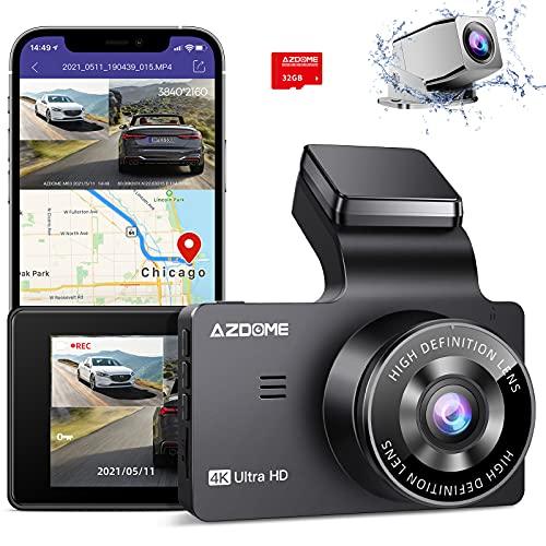AZDOME 4K Dual Dash Cam, Built-in GPS/WiFi(Memory Card Included), Dashboard Camera with UHD 3840x2160P, 3' Display, Sony Sensor, 170° FOV, WDR, Night Vision, Parking Monitor, Loop Recording, G-Sensor