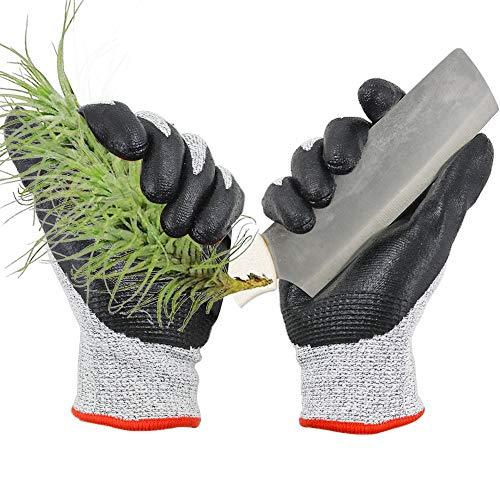 GLOSAV 2 Pairs Durable Gardening Gloves for Men & Women, Heavy Duty Nitrile Coated Garden Gloves, Safety Work Gloves, Level 5 Cut Resistant, Flexible (Large)