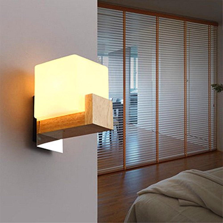StiefelU LED Dual Head LED Wandleuchte Massivholz Schlafzimmer Flur Treppe Licht single Head dekorative Nachttischlampe Wandleuchte, wei 5 W Scheinwerfer von l12 cmw 16 Cmh 15 cm