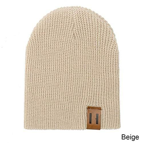 Moda Otoño Invierno Sombrero y Bufanda para Mujer Sombrero de niño Bufanda Traje de Color sólido Gorros Gorro y redecilla niños niñas-Beige 2-Kid