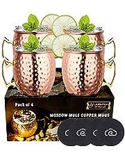 LIVEHITOP 4-delige Moscow Mule Koperen Mokken Set, 18 Oz Handgemaakte Cocktailbeker voor Koud Drankje, Wijn, Bier, Thuis, Bar, Feest, Geschenken, met 4 Onderzetters (pak van 4) (4PCS)
