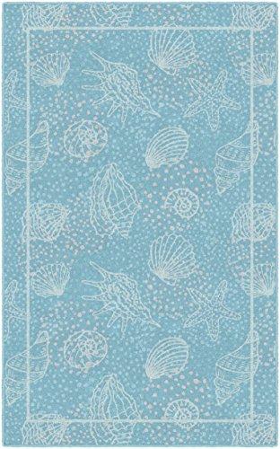 "Brumlow Mills Seas the Day Seashells Beach and Ocean Area Rug for Kitchen, Deck, Patio or Home Decor, 2'6"" x 3'10"", Aqua Blue"