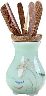 YYONYOU 茶道具 セラミック 六君子 茶器 6点セット 茶筒 茶則 茶入 茶針 茶挟 茶杓 ティーセット 茶具 家庭用 ティー用品 (A)