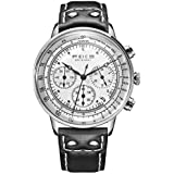 Chronograph Watch FEICE Men's Japanese Quartz Stopwatch Casual Wrist Watches for Men with Leather Strap -FS303