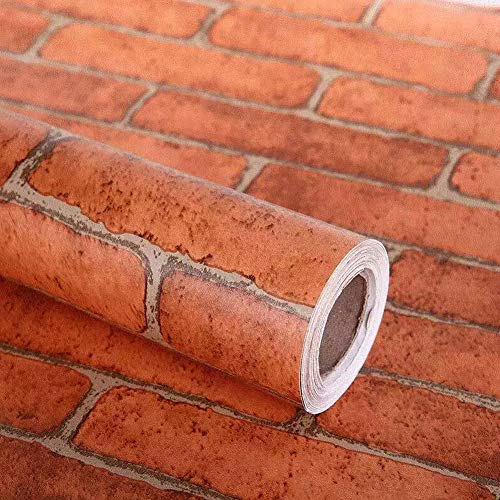 Lependor 17.71' X 118' Decorative Wallpaper Self-Adhesive Wallpaper Red Brick Printed Stick Paper Easy to Apply Peel and Stick Wallpaper - 17.71' x 9.8ft
