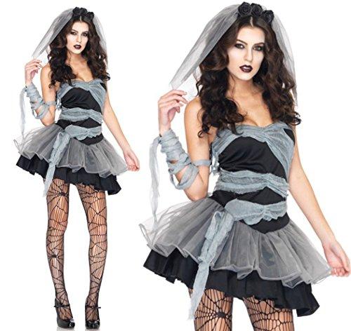『ハロウィン仮装 花嫁 ゾンビ ホラー 魔女 コスプレ衣装 コスチューム パーティー グッズ (花嫁 ゾンビ)』の2枚目の画像