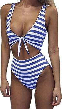 Farktop Women High Waisted Swimsuit Sexy One Piece Padded Bikini Swimwear Tie Front,Blue,Large
