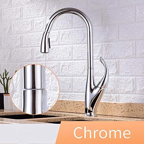 JTSLT Keukenkraan, uittrekbaar, eenhandsspoelbak, keukenkraan, 3 functies, eengats-draaiaar, 360 graden water-mengkraan