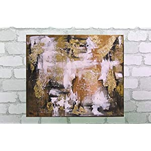 Acrylgemälde AUTUMN CONTRAST abstrakt 60cmx50cm, Original Acryl mit Blattmetall