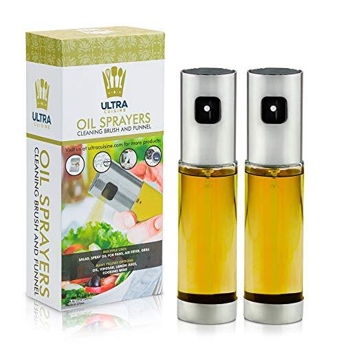 Glass Spray Bottle Oil Sprayer Set - Refillable, Food-safe Oil Spray Mister Set of 2 - Perfect Olive Oil Sprayer for Roasting & Grilling - 100ml Bottle 2-Pack - Refill Funnel, Cleaning Brush Included