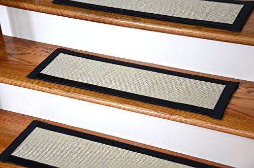 "Dean Non-Slip Tape Free Pet Friendly Stair Gripper Natural Fiber Sisal Carpet Stair Treads - Island Sand/Black 29""W (15)"