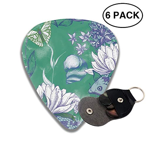 Celluloid Guitar Picks 3D Printed Pond Water Flowers Best Guitar Bass Gift for Gril