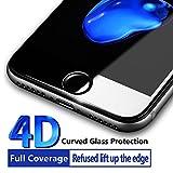 iPhone 7 Protector de Pantalla, Misvoice 4D Pantalla Completa Película Anti-scratch Protectores de Cristal Templado con Borde Curvo, Cubierta Borde, Pantallas de Gotas, HD Clear, Burbujas, (4.7 Negro)