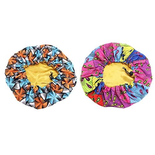 Minkissy Kinder Satinhauben 2 Stücke Einstellbare Schlafmützen Weiche Doppelschicht Gedruckt Nacht Hüte für Mädchen Kinder (Dreieckige Schneeflocken Und Platz Pfau)