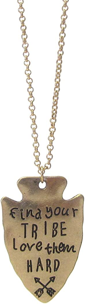 Fashion Jewelry ~ Find Your Tribe Love Them Hard Arrowhead Pendant Necklace for Women Teens Girlfriends Birthday Gift