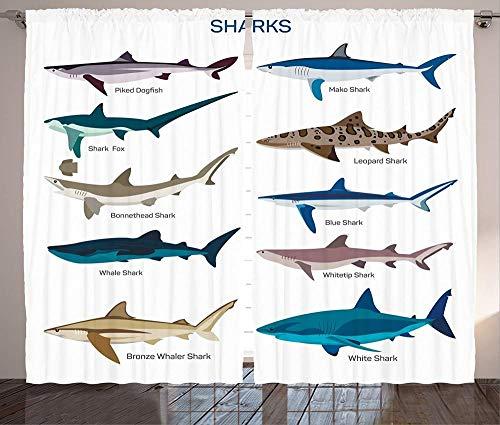 Waple Cortinas opacas ojete para sala de estar Cortina de tiburón, tipo de patrón de tiburón de diseño marítimo náutico 140*100cm Cortinas Opacas de Salón Dormitorio 3D Cortinas Termicas Aislantes con