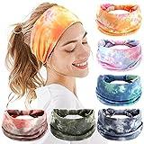 Headbands For Women, 6 PCS Yoga Running Sports Headbands Tie Dye Boho Pattern Elastic Non Slip Sweat Headbands Workout Hair Fashion Bands for Girls